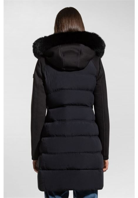 Long down jacket with fur and fabric sleeves PEUTEREY |  | PED3284NER