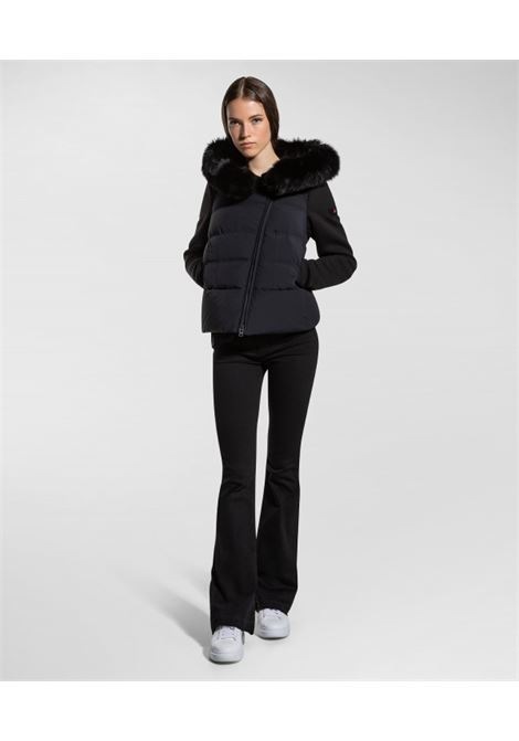 Short urban down jacket with fur and sleeves in bi-stretch fabric PEUTEREY |  | PED3285NER