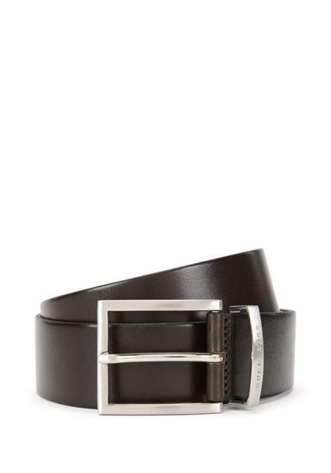 Cintura in pelle con fibbia ad ardiglione argento. HUGO BOSS | Cinture | 50292246202