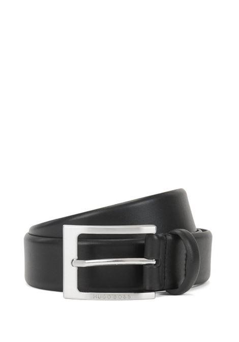Cintura in pelle fibbia ad ardiglione argento spazzolato.  HUGO BOSS | Cinture | 50292247002