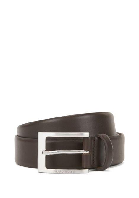 Cintura in pelle fibbia ad ardiglione argento spazzolato BOSS   Cinture   50292247203