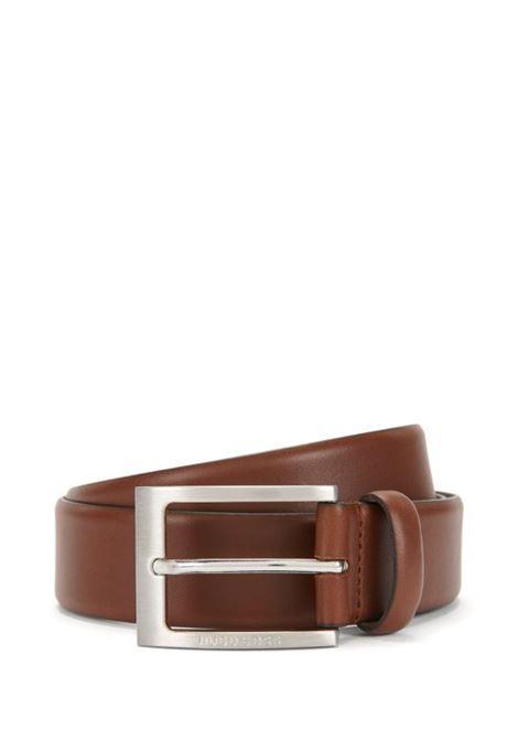 Cintura in pelle fibbia ad ardiglione argento spazzolato. HUGO BOSS | Cinture | 50292247217