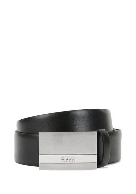 Cintura in pelle con placca argento spazzolato. BOSS | Cinture | 50292249001