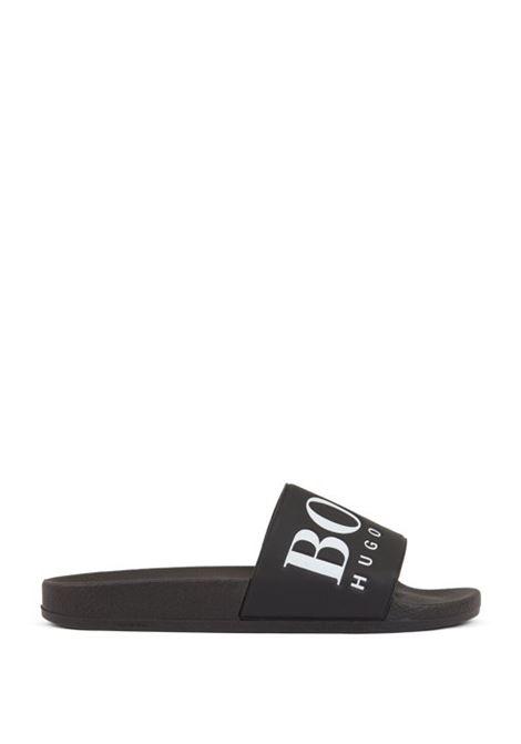 Sandali bassi in gomma realizzati in Italia con logo a contrasto HUGO BOSS | Scarpe | 50388496002