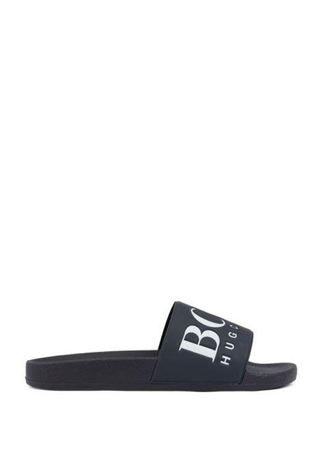 Sandali bassi in gomma realizzati in Italia con logo a contrasto HUGO BOSS | Scarpe | 50388496401