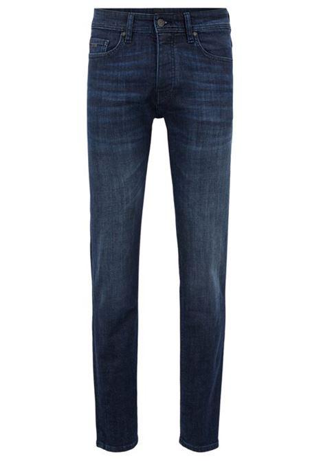 Jeans tapered fit in denim elasticizzato blu scuro con effetto usato HUGO BOSS | Jeans | 50389666417