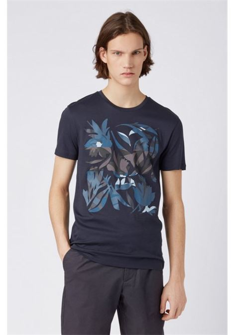 e2a1e57fc Slim-fit T-shirt in cotton with 3D-effect print - HUGO BOSS - Etienne