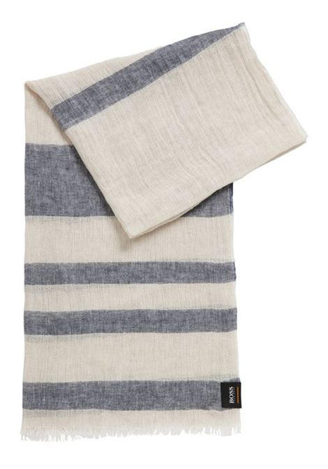 Striped linen scarf with mixed processing BOSS | Scarves | 50404134263