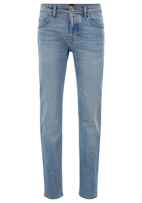 Tapered-fit jeans in bright-blue comfort-stretch denim
