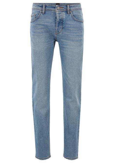 Jeans tapered fit in comodo denim elasticizzato blu acceso BOSS | Jeans | 50404605438