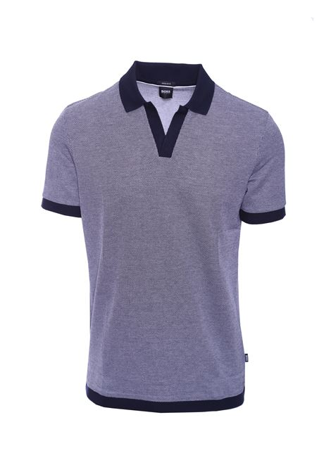Jacquard cotton polo shirt with open collar without buttons BOSS | Polo Shirts | 50408932402