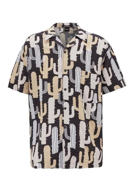 Camicia relaxed fit in misto lino con stampa con cactus BOSS | Camicie | 50409567001