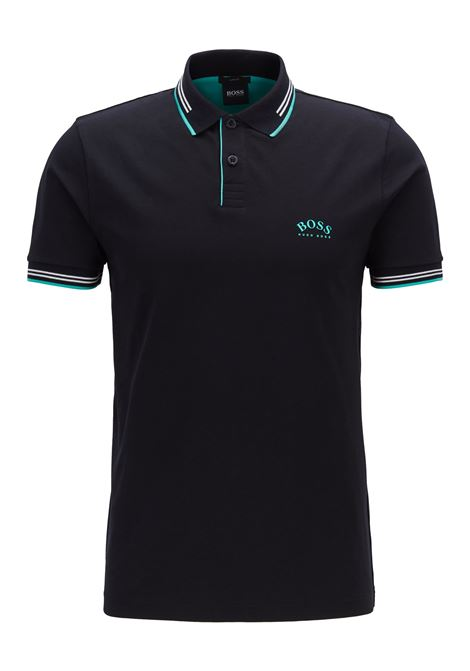 Slim-fit polo shirt in stretch piqué with curved logo BOSS | Polo Shirts | 50412675008