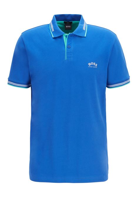 Slim-fit polo shirt in stretch piqué with curved logo BOSS | Polo Shirts | 50412675422