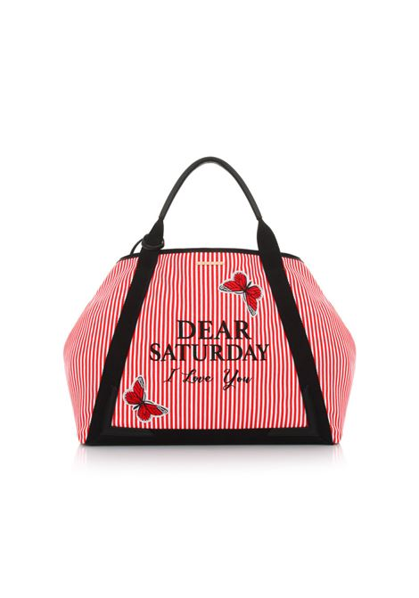 Country Bag SATURDAY White/Red. LE PANDORINE | Borse | DCT02369-02
