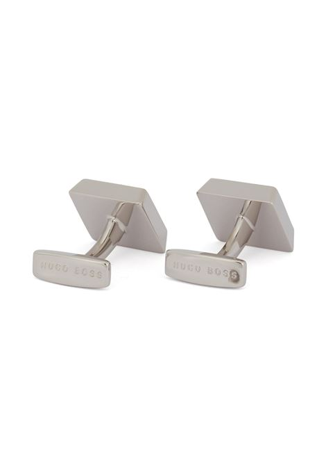 Square logo-engraved cufflinks with coloured-enamel core BOSS | Cuff Links | 50239922410