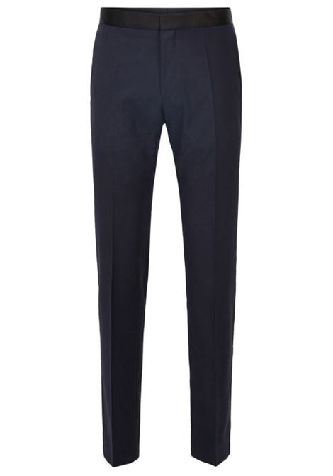 Formal slim-fit trousers in virgin wool with silk trim BOSS | Trousers | 50375814401