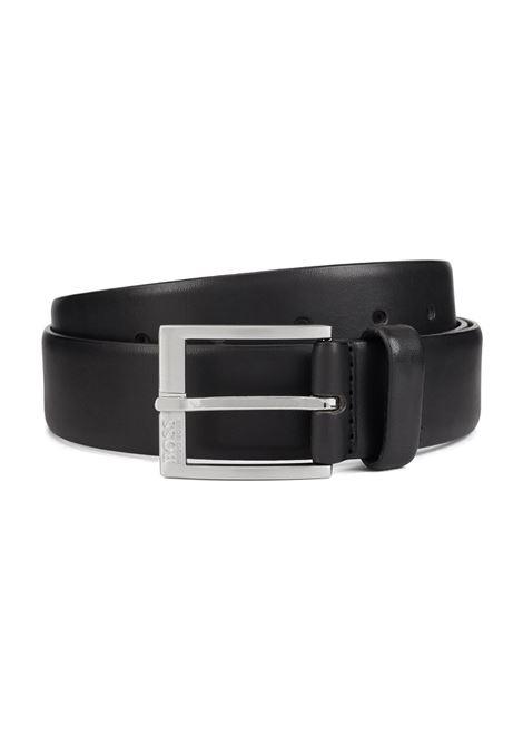 Cintura in pelle liscia con fibbia argento spazzolato BOSS | Cinture | 50389781001