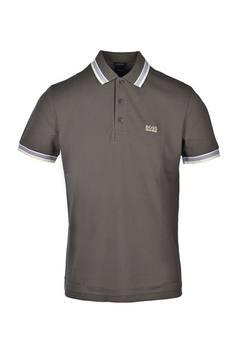 polo paddy regular fit contrast stripes - dark green BOSS | Polo Shirts | 50398302303