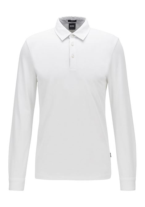 Polo Pavel Long-sleeved slim-fit - white  BOSS | Polo Shirts | 50423284100