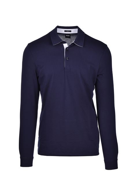 Polo Pavel Long-sleeved slim-fit - dark blue BOSS | Polo Shirts | 50423284402