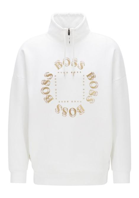 High-neck sweatshirt with layered metallic logo BOSS | Sweatshirt | 50423588112