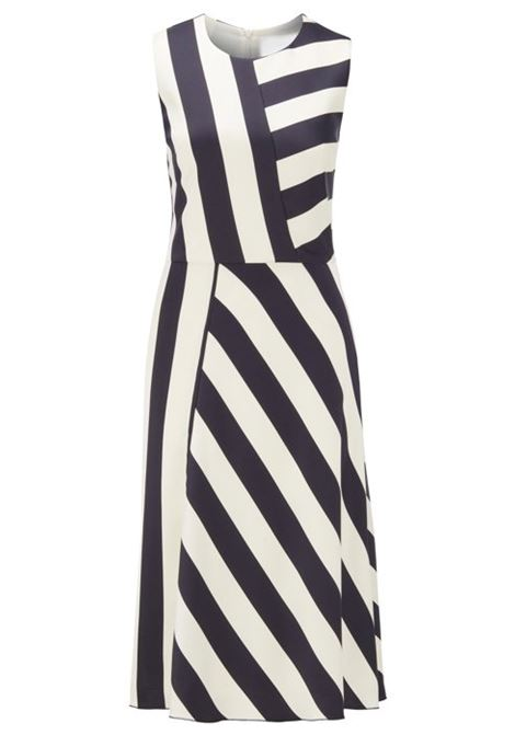Midi-length block-stripe dress in crinkle crepe BOSS | Dresses | 50423954963