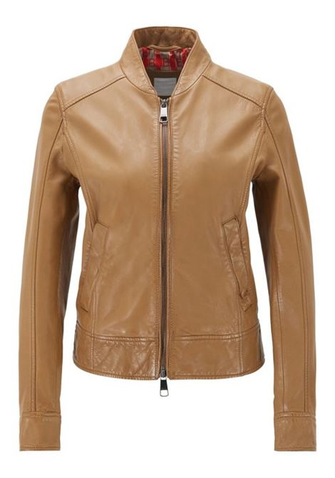 Regular-fit leather jacket with logo-print lining BOSS | Jackets | 50424624268