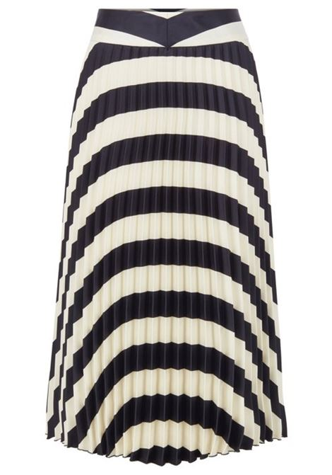A-line pleated skirt with block-stripe print BOSS | Skirts | 50425248963