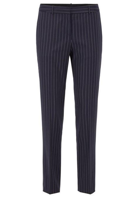 Regular-fit trousers in traceable stretch wool with pinstripe BOSS | Trousers | 50425311963