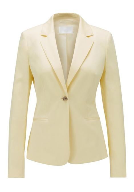 Regular-fit jacket in stretch-cotton satin BOSS | Blazers | 50425609741