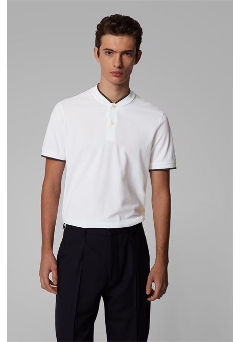 pratt 03 Polo in piqué con colletto basebal - bianco BOSS | Polo | 50425638100