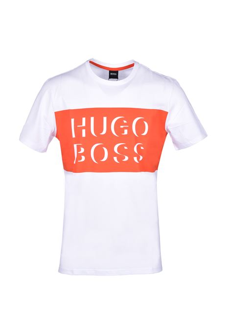 Crew-neck T-shirt in cotton jersey with logo print BOSS | T-shirts | 50426064100