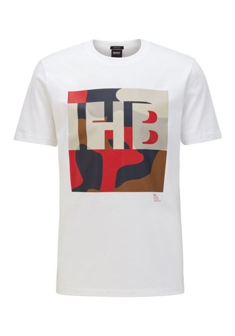 Cotton T-shirt with monogram and camouflage print BOSS | T-shirts | 50426065100