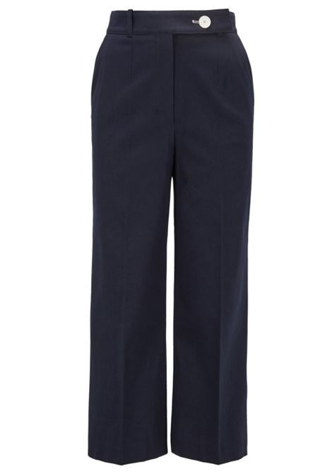 High-waisted wide-leg trousers in stretch-cotton piqué BOSS | Trousers | 50426198466