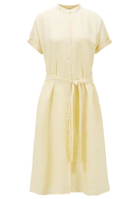 Shirt dress in a striped cotton-linen blend BOSS | Blouse | 50426764730