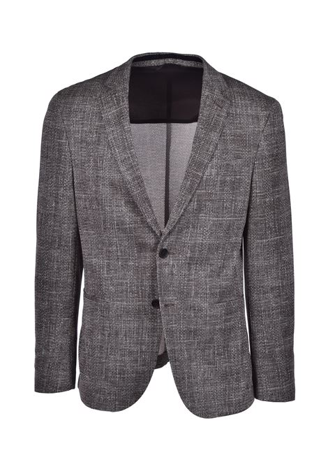 norwin Slim fit cotton jacket with micro motif - brown BOSS | Blazers | 50426993206