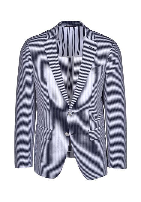 hartlay Striped slim fit stretch cotton jacket - dark blue BOSS | Blazers | 50427036402