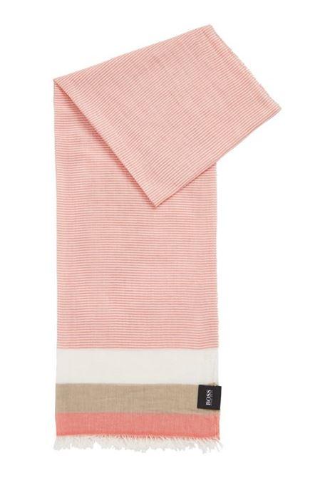 Sciarpa in tela di cotone con righe orizzontali BOSS | Sciarpe | 50427419805