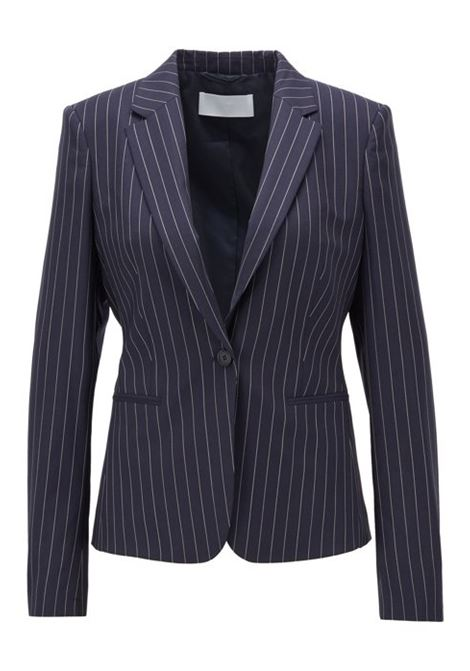Pinstripe regular-fit jacket in traceable wool with stretch BOSS | Blazers | 50427451963
