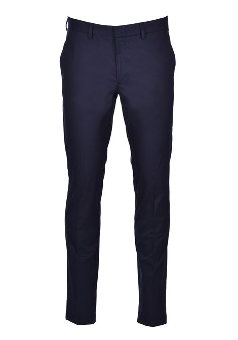 Slim-fit pants in paper-touch stretch cotton - dark blue BOSS | Trousers | 50427464402