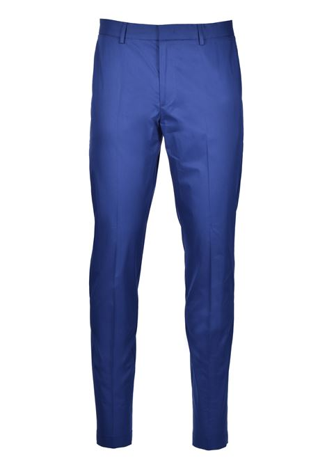 Slim-fit pants in paper-touch stretch cotton - blue BOSS | Trousers | 50427464407