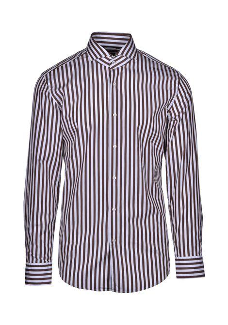 jemerson classic striped cotton shirt - brown BOSS | Shirts | 50428963255