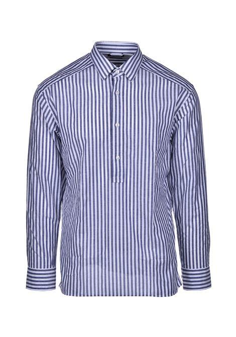 ferran Camicia in cotone e lino relaxed fit con chiusura corta - navy BOSS   Camicie   50429063410