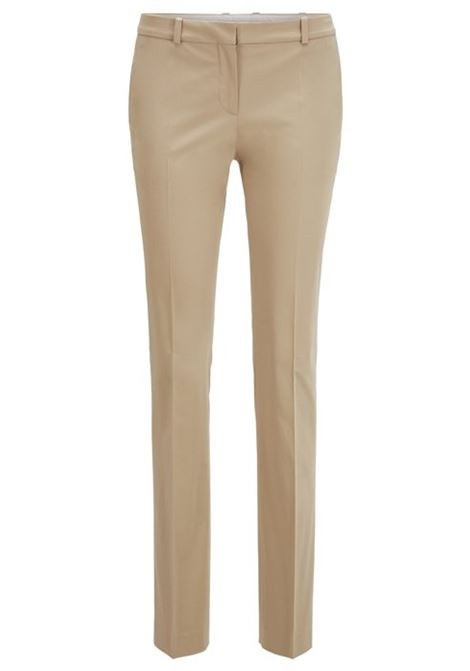 Regular-fit trousers in stretch-cotton satin BOSS | Trousers | 50429532266