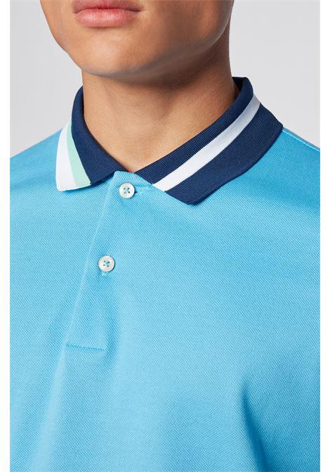 Perlay Cotton polo shirt with asymmetric collar stripes - turquoise BOSS | Polo Shirts | 50429987449