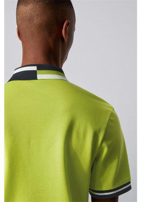 parlay 82 Polo in cotone con righe asimmetriche sul colletto - giallo BOSS   Polo   50429987735