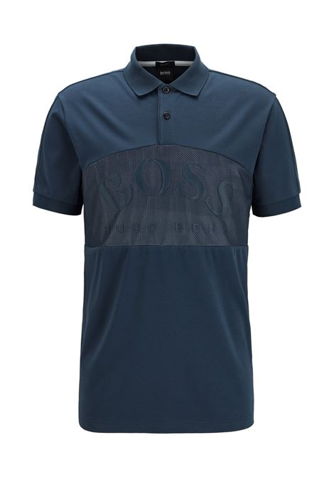 Pavel Cotton-blend polo shirt with curved logo on mesh - navy BOSS | Polo Shirts | 50430642410