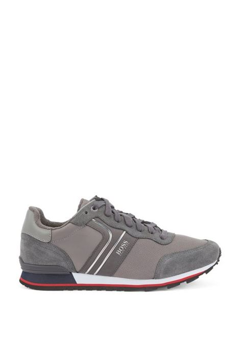 Running-style trainers with suede - open grey BOSS | Shoes | 50433661066