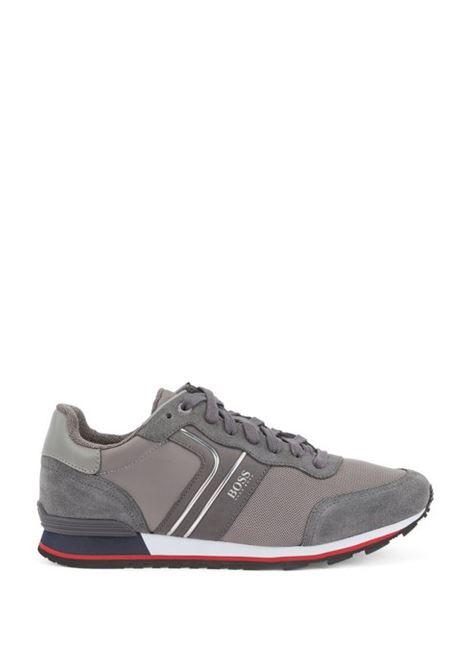 Parkour Sneakers runner in pelle scamosciata - grigio BOSS | Scarpe | 50433661066